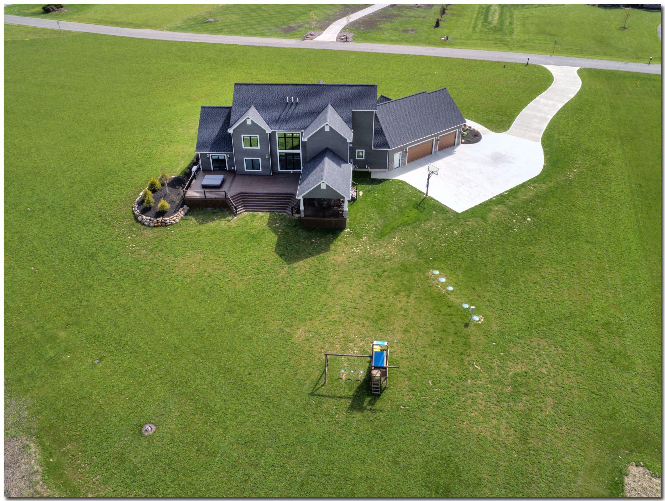 Highland Finished House Back Drone Shot
